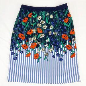 Anthro Postmark Vertical Garden Pencil Skirt  US 0
